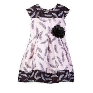 NWT Girls Pippa & Julie Feather Print Black Pink 4